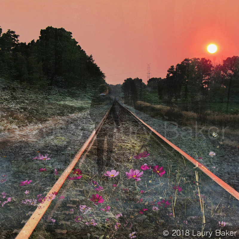 Compilation photography of young man on railroad tracks heading toward a setting sun.
