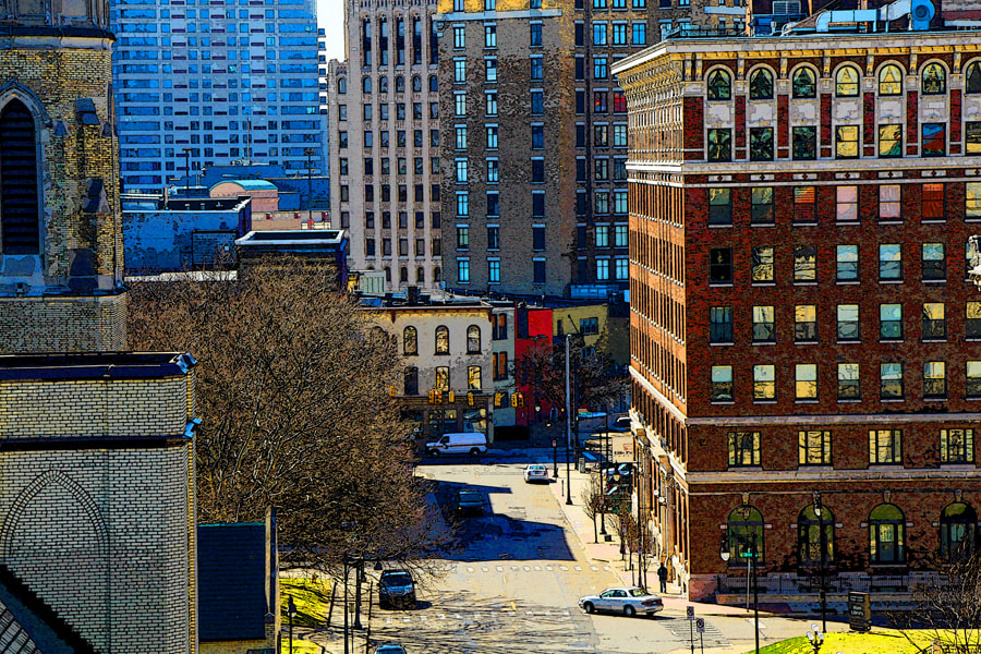 Painterly photograph of cityscape of downtown Grand Rapids, MI