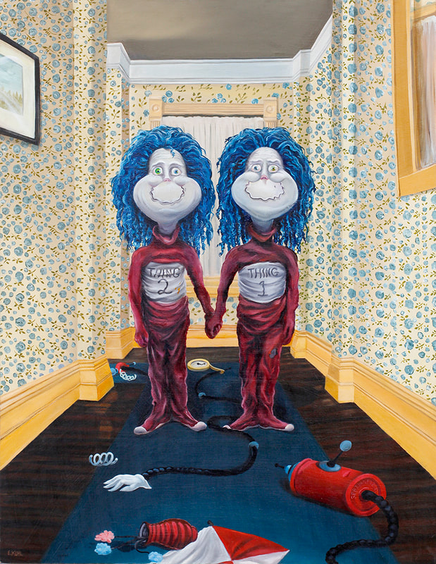 Oil painting by artist Eric Kuhl of Dr Suess' Thing One and Thing Two in a scene from the movie, The Shining. Whimsical and surreal.