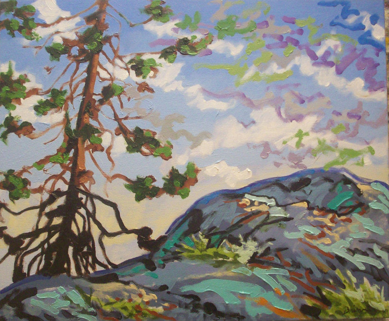 Oil painting by Richard Brinn. Pine tree and rocks.