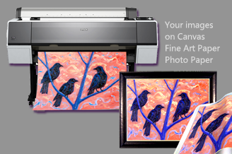 Photograph of an original painting by Ben Perrin of three crows and a large format printer printing a reproduction of the same painting. Text in image reads: Your images on canvas fine art paper photo paper